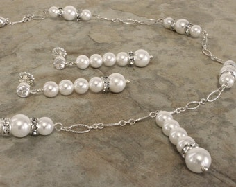 Swarovski Crystal, Pearl and Sterling Silver Lariat Necklace Earring Set Wedding or Other