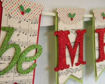 Be Merry Christmas Banner - Holiday Decor - Christmas Decor - Christmas Glitter Banner