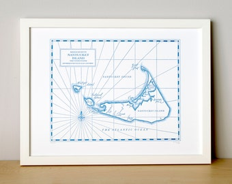 Nantucket Island, Letterpress printed map (Nautical Blue)