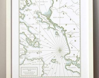 Historic San Francisco, Letterpress Printed Map (Olive)