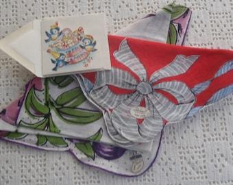 Vintage Handkerchiefs Floral Designs