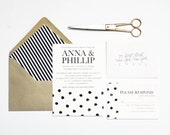 Polka Dot Wedding Invitation // Wedding Announcement // Save the Date // Digital or Letterpress - PuddleduckPaperCo