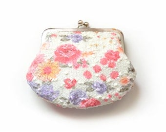 SALE Bridesmaid Gift Custom Pink Roses Floral Print Wedding Shabby Your Lolis Creations Clutch Purse Personalized Bags