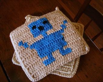 Robot Potholders - Cobalt Blue Robot, Light Brown, Crochet Potholders, Pot Holders, Hot Pad Gift for Techie, Sci Fi Geek, Nerd MADE TO ORDER
