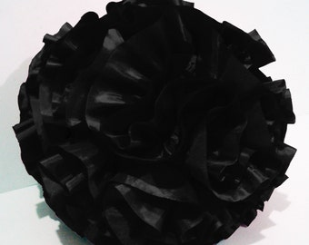 black ruffled filled  round pouf fluffy cushion black pillow designer pillow modern pillow retro pillow in a round 16 inch diameter