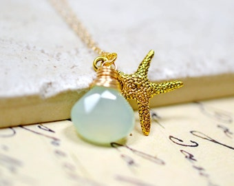 Mint Starfish Necklace / Seafoam and 14k Gold Filled Beach Jewelry / Aqua Chalcedony, Wire Wrap Gemstone, Star Fish Charm