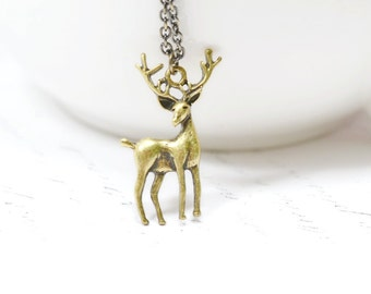 Vintage Brass Reindeer Necklace / Antiqued Brass Deer Charm Jewelry / Winter Holidays Christmas Jewelry, Rustic Jewelry Woodland Forest