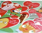 Printable cute Valentine Cards set of 12