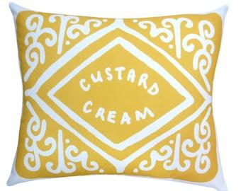 Supersize Custard Cream Printed Cushion / Biscuit Cushion - Cookie Pillow