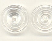 Tom's lampwork crystal clear 2 disc spacer/drop/clasps set, 1 pair 96917