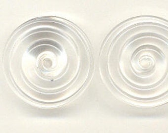 Tom's lampwork crystal clear 2 disc spacer/drop/clasps set, 1 pair 98505