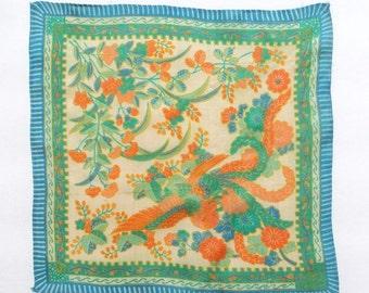 20s Silk Handkerchief Japan Bird & Flowers Vintage