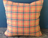 Orange Plaid Pillow