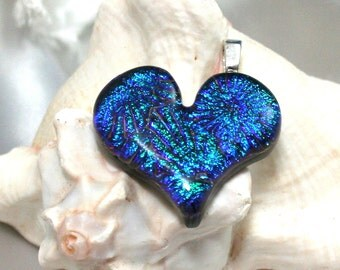 Green,Turquoise  Heart Fused Glass Pendant , Dichroic Heart, Fused Glass Heart, Dichroic Pendant, Blue Heart Jewelry, Handmade Heart
