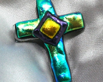 Dichroic Fused Glass Cross Pendant,  Cross, Cross Jewelry, Dichroic Cross,  Green Cross, Glass Pendant, Art Glass Pendant
