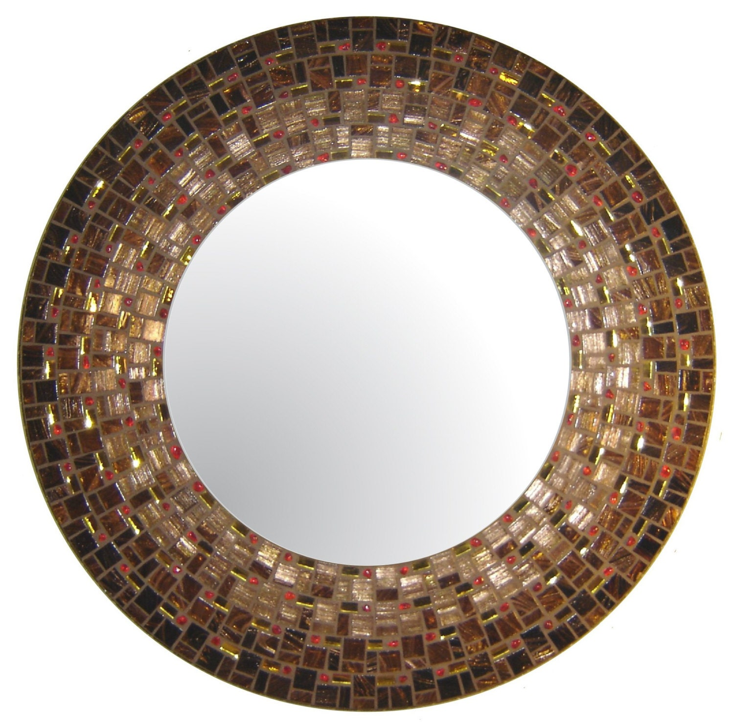 Moroccan Mosaic Mirror Brown Copper Gold Amp Red By Opusmosaics