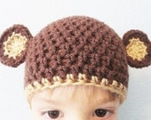 Little Monkey Baby Beanie Handmade Crocheted Cap Dark Chocolate Brown and Caramel with Ears