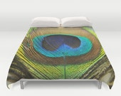 Duvet Cover - Comforter Cover - Peacock Feather - Blue Green Brown - Nature Bedding - Blanket Cover - King Queen Full Twin