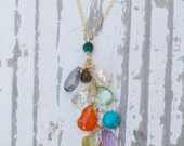 Gemstone Waterfall Necklace on 14k Gold Filled Chain   Gemstone Necklace   Cascading Gemstones   Ocean Inspired   14k Gold