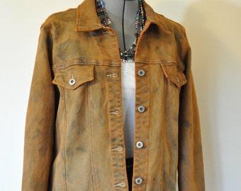 Gold Medium Denim Jacket - Rusty Orange Gold Hand Dyed Upcycled Bill Blass Denim Trucker Jacket - Adult Womens Medium (40 chest)