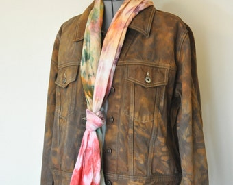 Cocoa Gold 14/16 XL Denim JACKET - Gold Brown Hand Dyed Upcycled Venezia Denim Trucker Jacket - Adult Womens Size XL Extra Large (48 chest)