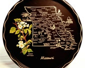 Missouri Map Tray, Metal Serving Platter with Black Background, State Flower Hawthorn and Tourism, 50s 60s