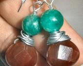 Under 10 dollar Gemstone earrings Jade and Carnelian wire wrapped silver plate
