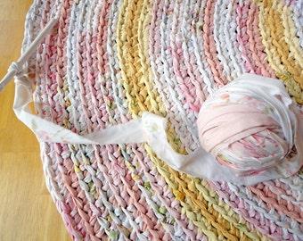 custom rag rug - round recycled pink crochet