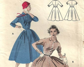Butterick 7513 / Vintage 1950s Sewing Pattern / Dress / Size 16 Bust 34