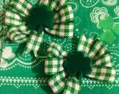 Green Gingham Shamrock Hair Bow St PATTYS