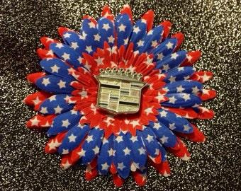 Cadillac Emblem Red Blue Patriotic Star Hair Flower Daisy Clip