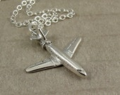 Airplane Necklace, Silver Airplane Charm on a Silver Cable Chain