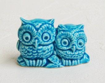 Ready to Ship - Retro Aqua Owl Bird Figurines Miniature Ceramic Wedding Cake Toppers