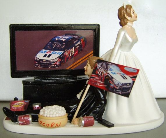 NASCAR 'couch potato' GROOM. Perfect Customized Wedding Cake Topper