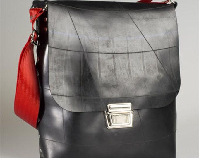 Man Bag Satchel / Messenger. - Designer Upcycled black rubber - Waterproof Eco Fashion.