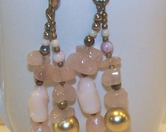 Vintage Pink Sea Glass Dangle Earrings