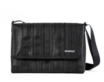 """15"""" Black Messenger Bag // Handmade from recycled bike tube"""