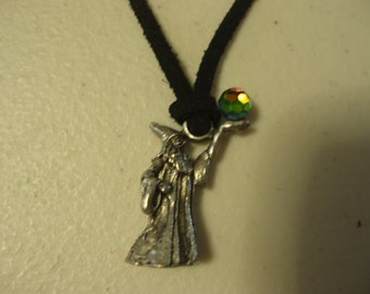 Antiqued Silver Plated Wizard with Crystal Choker/Necklace