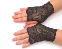 Fingerless  gloves  lace  black  with silver thread , vampire,victorian,prom,bridal,  stretch,  elegant
