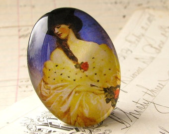 Parisian Woman with Top Hat, handmade 40x30 40x30mm 30x40mm 40 30 mm glass oval cabochon, French fashion, yellow purple black