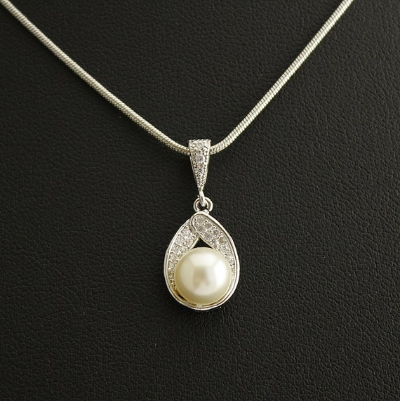 Wedding Jewelry Pearl Jewelry Bridal Necklace with Clear Cubic Zirconia Teardrop pendant with White Swarovski Pearl Wedding Necklace