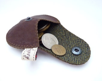 """Men's Coin Pouch Waxed Brown Leather and Wool / The """"Mini Gypsy"""" Coin Purse  / Ready to Ship from the States"""