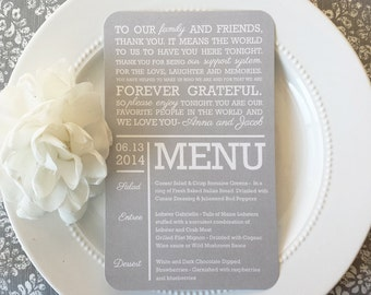 Printable Wedding Menu and Thank You - SOFT GRAY COLLECTION - Style MTY9  | Menu  | Thank You | Wedding Menu Printable