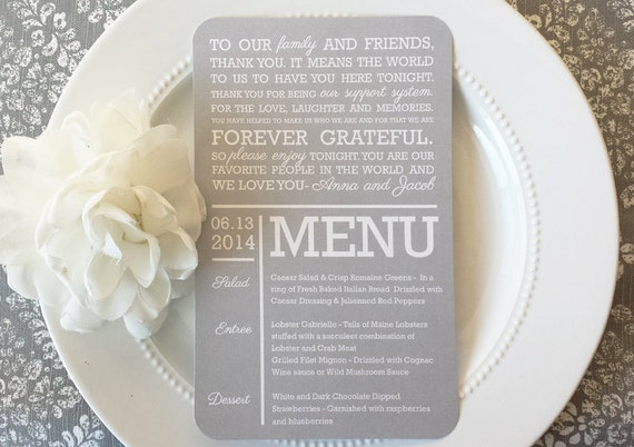 Printable Wedding Reception Thank You Menu Combination