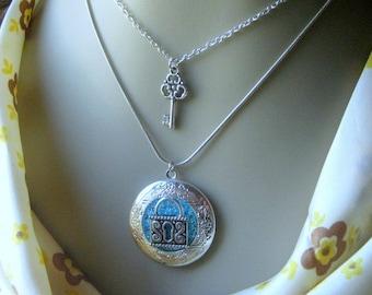 2 in 1 Locket Necklace, Lock Key Locket, Lock and Key Necklace, 2 for 1 Necklace, Layered Necklace, Him and Her Jewelry, Blue Glass Locket