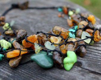 Raw Stone Necklace Multistrand Birthstone Jewelry Green Teal Honey Black Natural Rough Baltic Amber Turquoise Apatite Amazonite Fall Fashion
