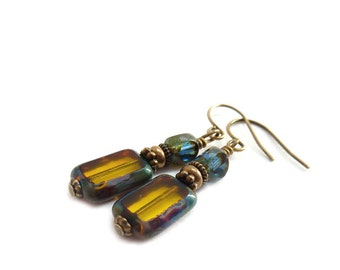 Topaz Brown Earrings - Picasso Rectangle Glass - Midnight Blue Beads - Yoga Earrings - Petite Short Dangles - Mustard Yellow