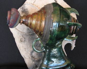 Raku Ray Gun Ceramic Sculpture - Capek R.U.R.