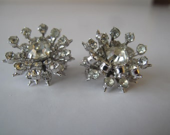 Pair of Rhinestone Scatter Pins or Brooches Juliana style Estate Jewelry Vintage Rhinestones, Collectible Bridal Jewelry