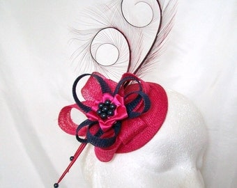 Cerise Pink and Navy Blue Pheasant Curl Feather Sinamay & Pearl Fascinator Mini Hat - 'Custom Made To Order' for a Wedding or the Derby
